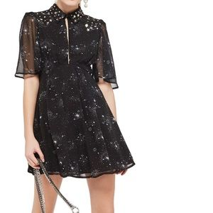 Topshop Embellished Star Print Skater Dress 6